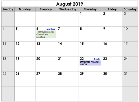 August 2019 Events