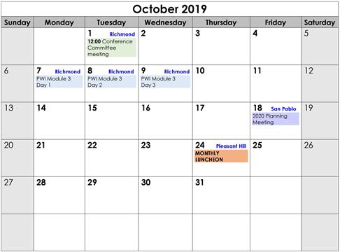 October 2019 Events